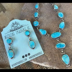 Navajo Fox Turquoise & Sterling  Necklace Set